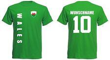 Wales T-Shirt Trikot Jersey - EM 2016 Fußball - inkl. Name + Nr. grün