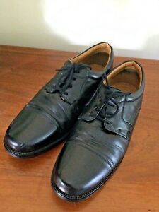 MENS CLARKS BLACK LEATHER CUSHION CELL LACE UP SMART FORMAL SHOES UK 10.5