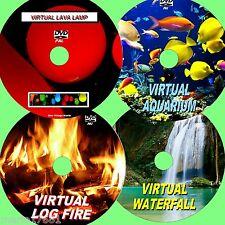 VIRTUAL WATERFALL, LOG FIRE, FISH TANK, & LAVA LAMP 4 GREAT RELAXING DVDs NEW