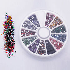 12Colors 500Pcs 2.0mm Glitter Tips Rhinestones Gems Round Wheel Nail Art Decor A