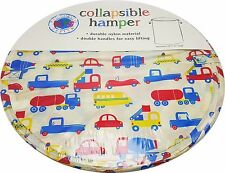 Boys Cars Trucks Toy Storage Laundry Clothes Hamper Collapsible Zip Lid New