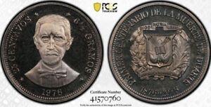 Dominican Republic 1976 25 Cents Centavos PCGS PR67DCAM Deep Cameo Proof