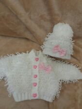 Baby Girl Clothes Hand Knitted Loopy Knit Set To fit age Preenie size Baby