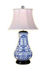 """Chinese Blue and White Porcelain Round Vase Round Insignia Table Lamp 30.5"""""""