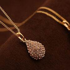 Women Gold Crystal Rhinestone Pendant Necklace Jewelry Neck Chain Party Wedding