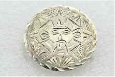 Solid .925 Sterling Silver 5.9 g Vintage Aztec Design Pin Pendant Real