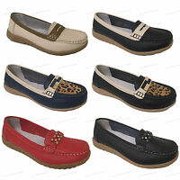Womens Loafers Leather Comfort Casual Slip On Colors Oxford Moccasin Shoes Sizes