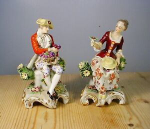 Pair Antique Derby Porcelain Period Costume Figures with Flowers