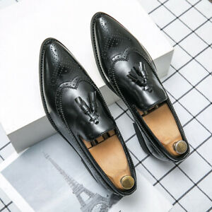 Men's Tassels Leather Brogues Carved Slip On Loafers Pointed toe Shoes 38-48 Sz
