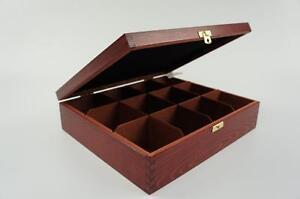 Wooden Tea Box Tea Bag Chest 12 Compartments Tea Caddy Kitchen Laquered H12cf