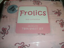NEW Frolics Kids Collection twin sheet set 100% polyester BALLET SLIPPERS pink