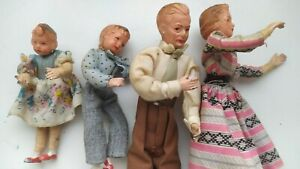 Vintage 1950'S German Caco dollhouse set Family with metall legs, hands