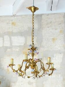 XL Vintage French 6 Arms Bronze Brass Chandelier Ceiling Porcelain Flowers 1950