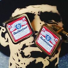 Unique! BUDWEISER  CUFFLINKS drink BEER pub LAGER wicked! CHRISTMAS original