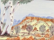 Water Colour Indigenous Namatjira Landscape  Aboriginal Art Dot Painting Dingo