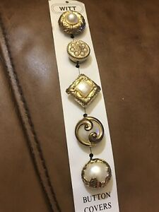 Vintage Set Of  5 Button Covers By Witt Company