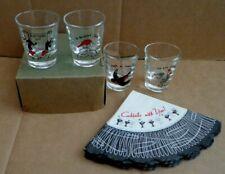 Vintage Shot Glasses Anchor Hocking set of 4 With Cocktail Napkins Red and Black