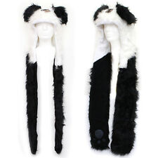 Panda  Fluffy Plush Lapland Hat with Mittens Pokect Scarf : Premium Fur