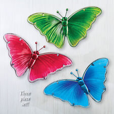 Set of 3 Solid Color Glass Butterflies Indoor/Outdoor Fence Wall Hanging Art