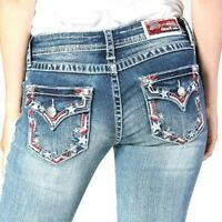 Grace in LA Women's Americana Embellished Embroidered Stretch Bootcut Jeans