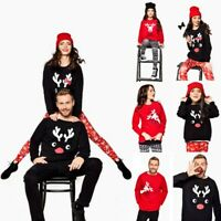 Christmas Family Match Tops Cartoon Deer Print Pullover Sweatshirt Dad/Mom/Child