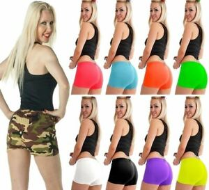 Womens Microfiber Hot Pants Girls Neon Colour Stretchy Dance Cycling Short Pants