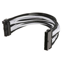 ATX 24-Pin Male to Female PSU Power Supply Extension Cable 30cm Black&White