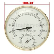 "3.9"" Stainless Steel Edge Sauna Room Thermometer Hygrometer Clock -0°C~120°C"