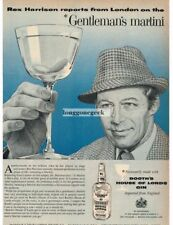 1959 Booth's House Of Lords Gin REX HARRISON art VTG Print Ad
