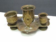 Antique Brass Inkwell Desk Set Tray with Built-in Quill Cutter