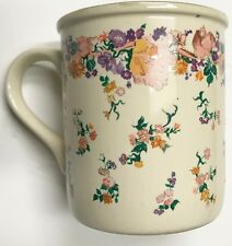 NEW CREATIVE CONCEPTS COFFEE MUG 8oz IVORY MULTICOLOR FLORAL / GREEN INNER