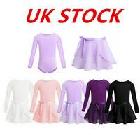 UK Girls Kids Ballet Dance Dress Gymnastics Leotard Wrap Skirt Dancewear Costume