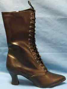 Victorian Boots Lace Black Saloon Fancy Dress Halloween Adult Costume Accessory
