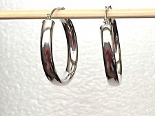 """Made In Italy High Polished, 1"""" Hoop Earrings, 14K White Gold"""