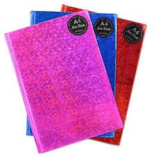 A4 Notebook Ruled Hard Back Bound Note Book Holographic Design Pink Blue Red