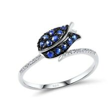 Tulip Flower simulated Sapphire & simulated Diamond Sterling SILVER Ring size 7