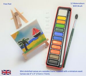 """Mini Painting Canvas Easel Boxed Gift With Paints & Brush 3"""" x 3"""" (75 x 75mm)"""