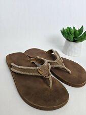 SANUK Men's Fraid So Flip Flops Brown Comfort Leather Frayed Canvas Strap Size 8