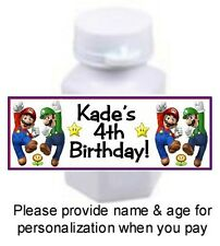30 Super Mario Brothers Bros Birthday Party Mini Bubbles Bottle Stickers Labels