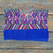Vintage Guatemala Huipil Blue Rainbow Hippy Handwoven 70s San Martin