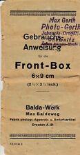 PDF Balda Front-Box 6x9 cm Kamera Gebrauchsanleitung Bedienungsanleitung Manual