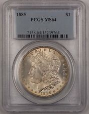 1885 US Morgan Silver Dollar Coin $1 PCGS MS-64 Lightly Toned BR4 D