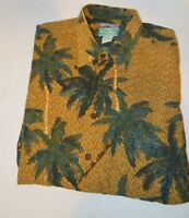 Reyn Spooner Hawaiian Shirt Brown Green Palm Trees Hawaii Size Large