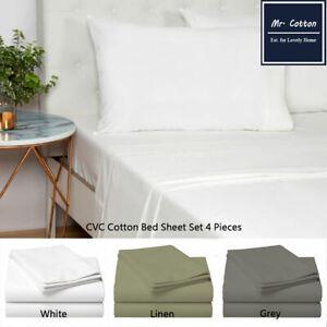 CVC Cotton Solid QUEEN/KING SIZE 4 PCS BED SHEET SET