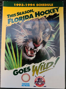 "RARE! 1993-1994 FLORIDA PANTHERS ""GOES WILD!""  INAUGURAL SEASON POCKET SCHEDULE"