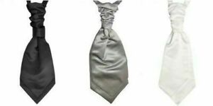 Mens Cravat Wedding Satin Plain Formal White silver grey or black