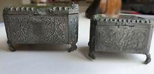 More details for two french el brevete metal trinket keepsake boxes glass top. antique
