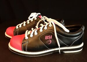 BSI Women's Bowling Shoes Size 5 1/2 Pink/Black Saddle Style Ladies Sports Bowl