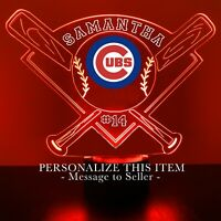 Chicago Cubs MLB Baseball Personalized FREE Light Up 3D Illusion LED