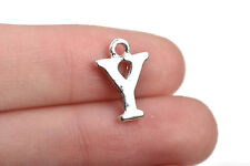 8 Letter Y Charms Silver Plated monogram 15mm, chs2581